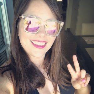 Diff Eyewear Accessories - Diff Bella Pink Clear Sunglasses
